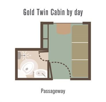 Great Southern Rail - Gold Twin Cabin layout by day