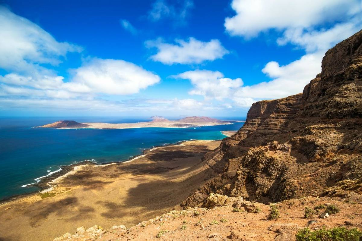 Panorama of the island of La Graciosa, northern of lanzarote, seen from Mirador de Guinate. Canary Islands, Spain.
