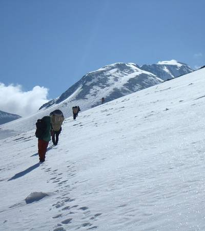 Walking up Dhampus Pass at 5,240m