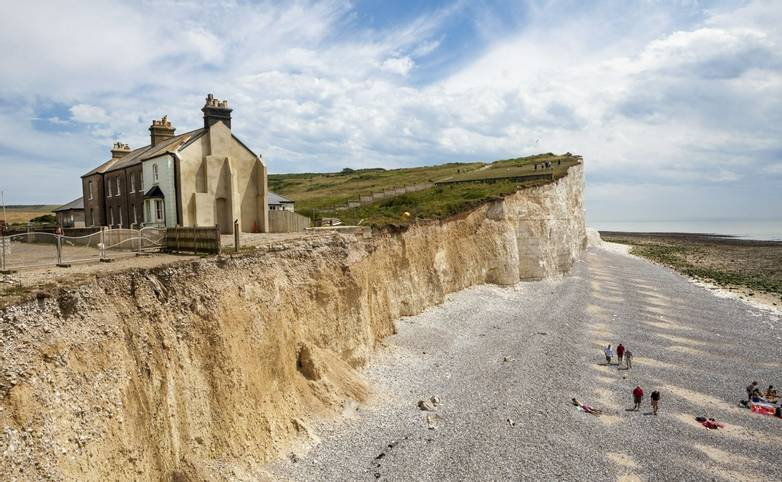 SEAFORD, SUSSEX Uk. 2015 may 17th.The cliffs and lighthouse at Beachy Head on the south coast of England.