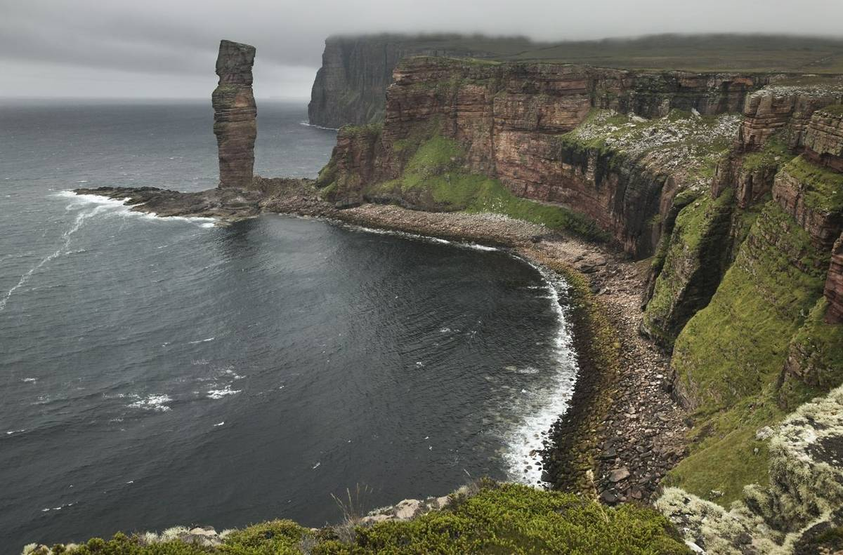 Scottish landscape in Orkney. Old man of Hoy. Scotland