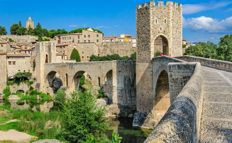 The bridge over the moat into the historic Catalan city of Besalu.