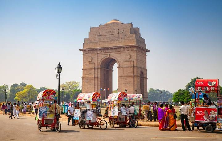 Delhi, India - October 15, 2016: many ice cream bicycles in front of the india gate