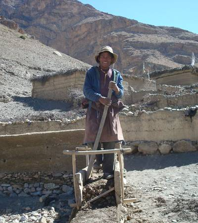 Making mud bricks in Mischagaon village (4,200m)