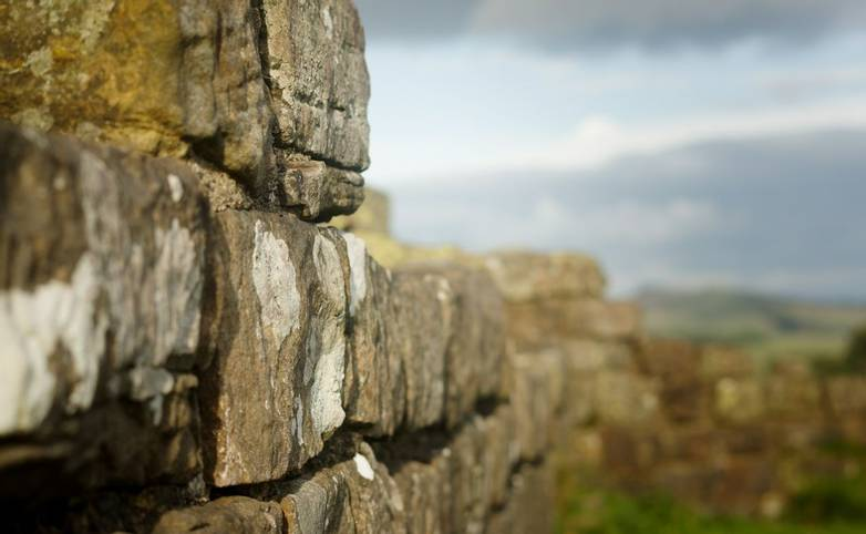 Close up shot of Hadrian's Wall at Walltown Crags in Northumberland.