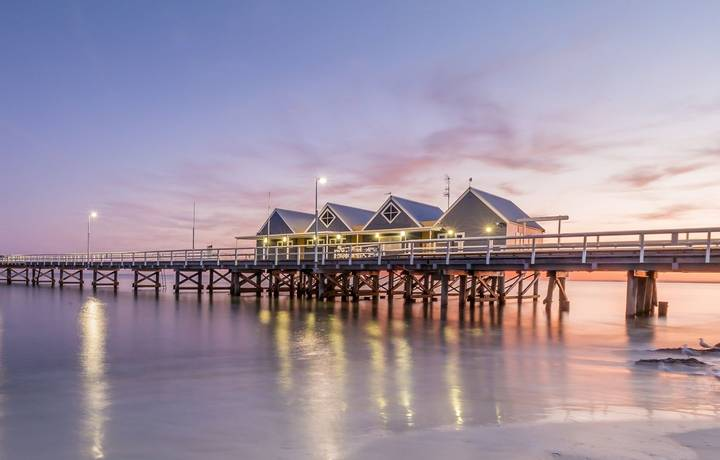 Busselton Jetty located in the Busselton Western Australia. This Jetty is 1841m long and is a local landmark. Busselton is l…
