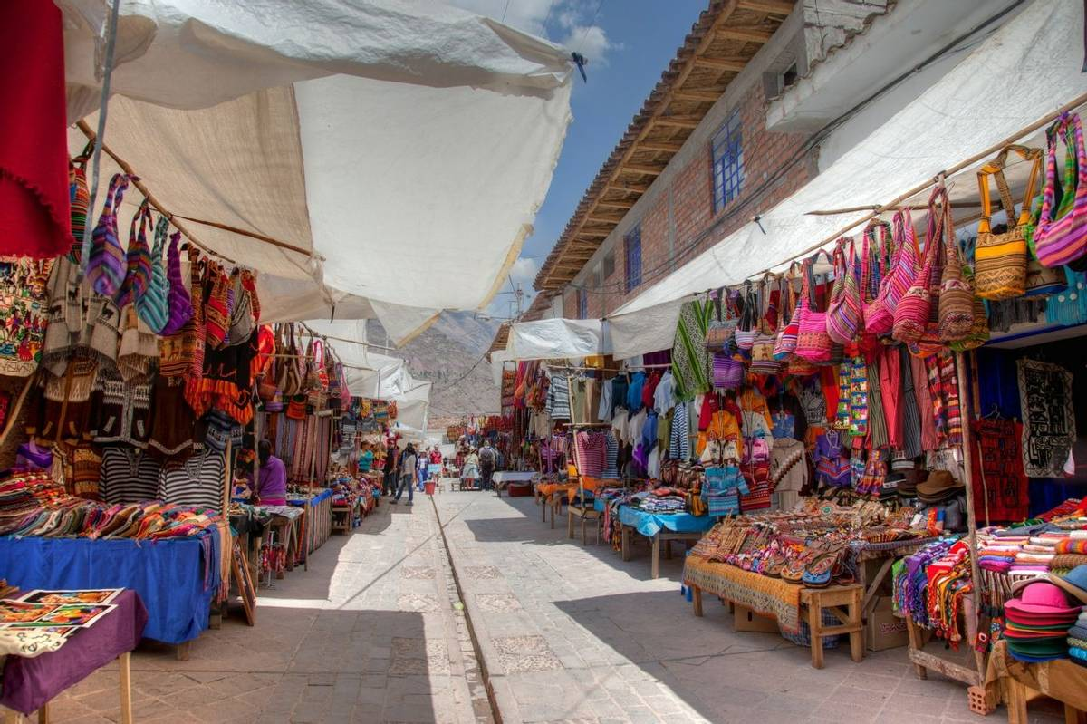 Pisac Town and Tourist Artisan market Sacred Valley Peru South America