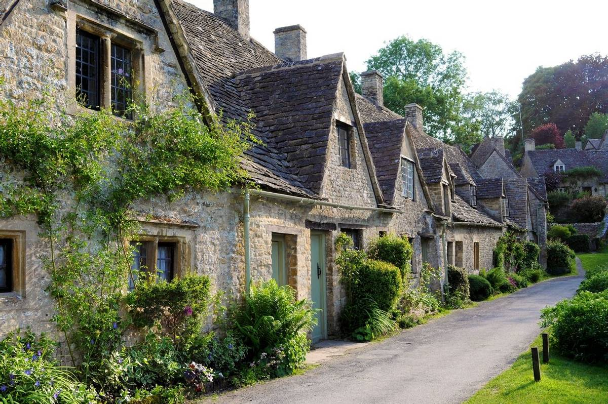 Traditional old houses in English countryside of Cotswolds
