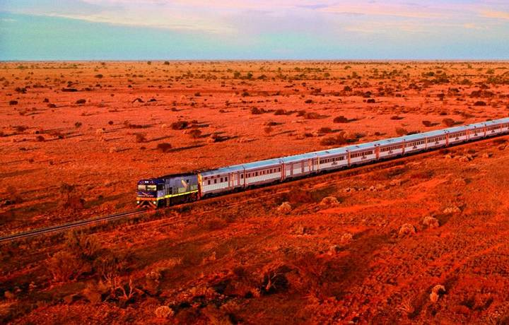 Great Southern Rail Indian Pacific train journey by helicopter Sydney to Perth September/October 2007
