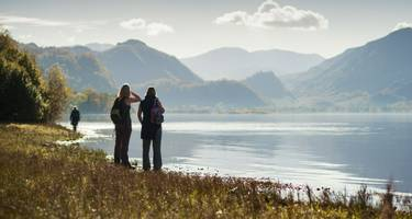 Walkers enjoying the autumn sun in the English Lake District