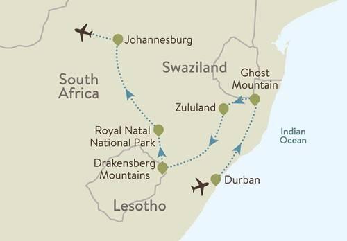 Drakensburg Itinerary Map