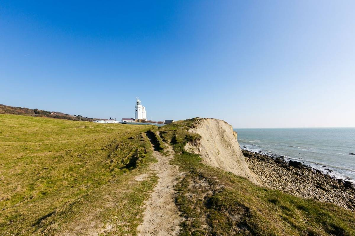 St Catherine's Lighthouse on Isle of Wight at Watershoot Bay in England