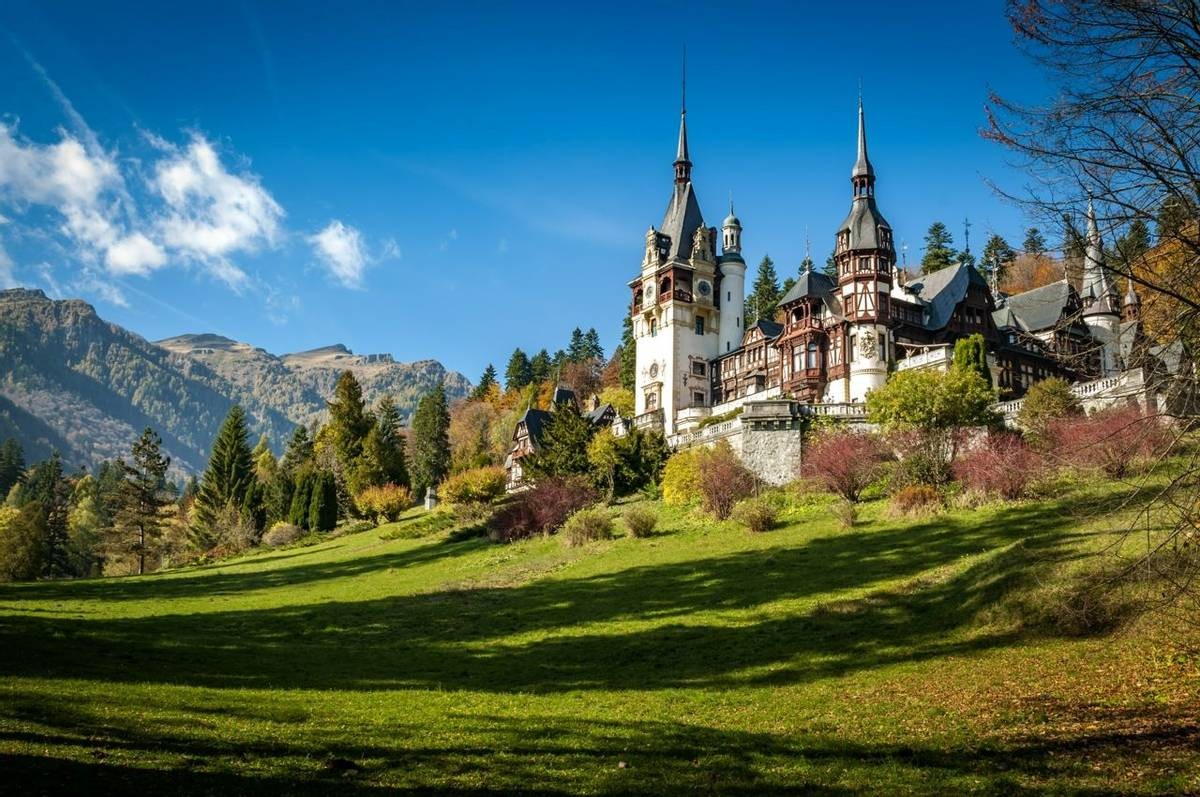 Sinaia, Romania - October 19th,2014 View of Peles castle in Sinaia, Romania, built by king Carol I of Romania. The castle is…