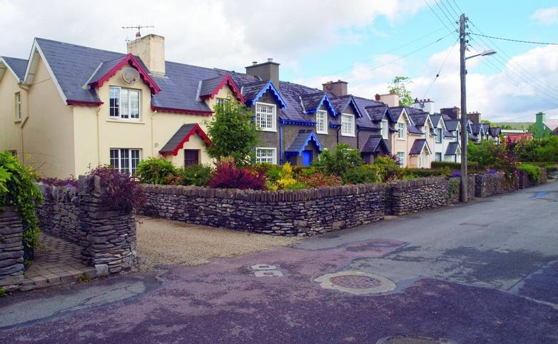 Quaint cottages in the popular town of Kenmare in County Kerry, southwest Ireland