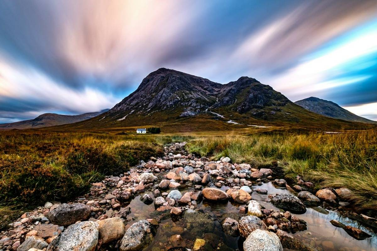 Buachaille Etive Mòr and Lagangarbh Hut, Scottish Highlands