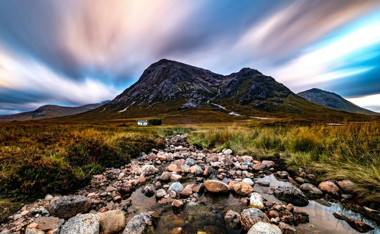 Buachaille Etive Mòr and Lagangarbh Hut, Scottish Highlands