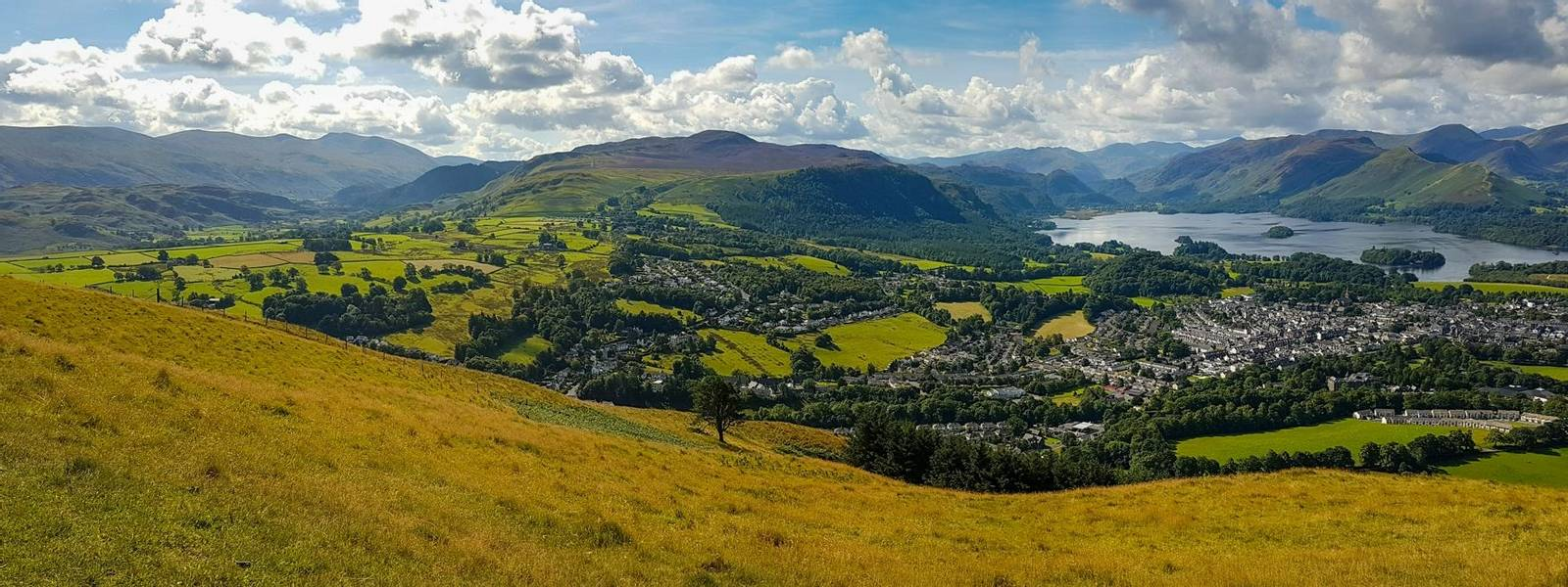Wide panoramic view of Keswick and lake Derwent Water from Latrigg, Cumbria, UK