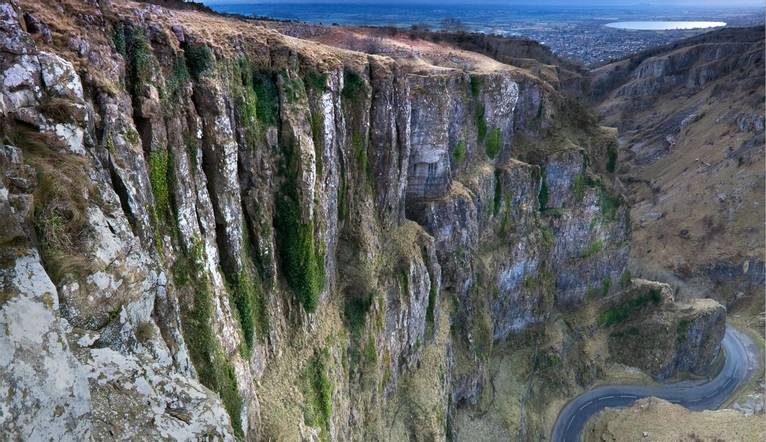 Panorama of cheddar gorge cliffs.