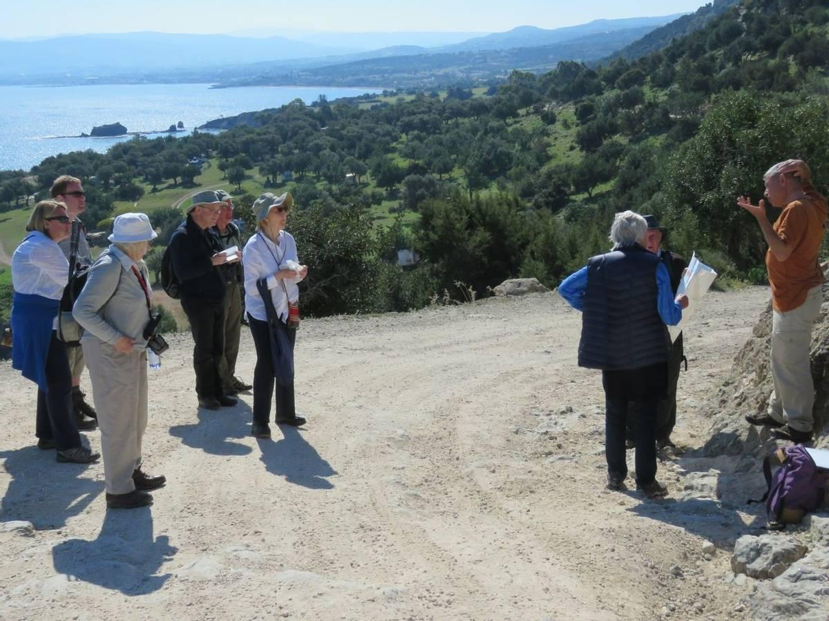 Yiannis explaining geology, Coastal path nr baths of Aphrodite (Heather Osborne)