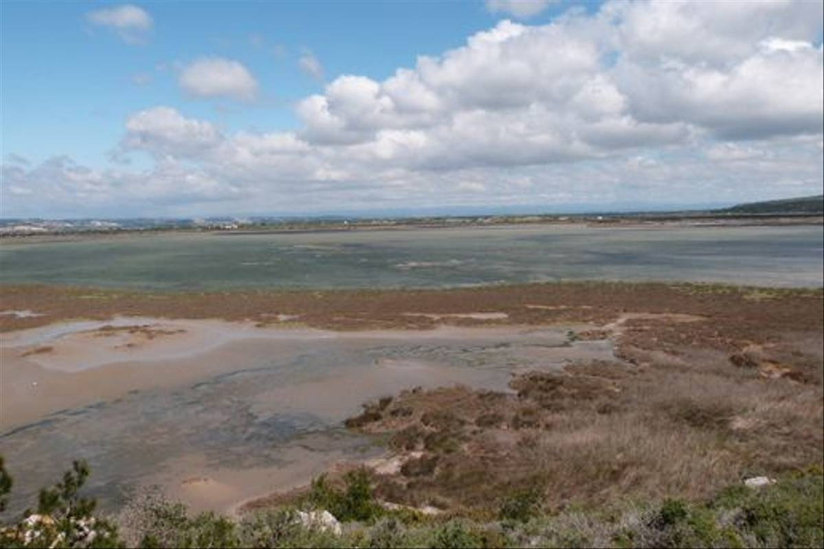 Gruissan salt pans with the Pyrennes in the distance