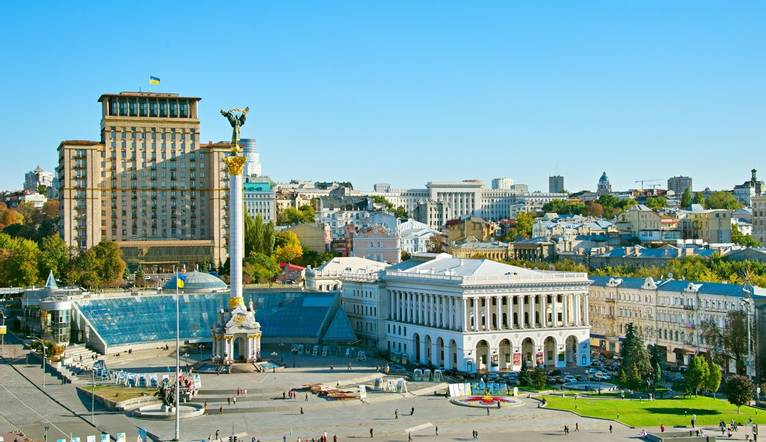 View of Independence Square (Maidan Nezalezhnosti) in Kiev, Ukraine