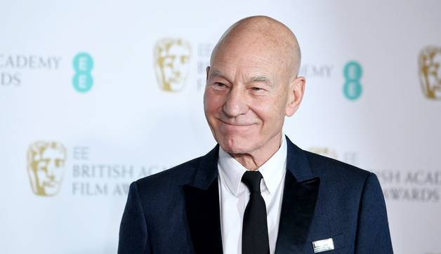 LONDON, ENGLAND - FEBRUARY 18:  Sir Patrick Stewart poses in the press room during the EE British Academy Film Awards (BAFTA…