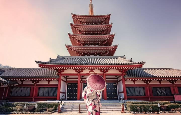 February 2019 - Tokyo, Japan - Girl with traditional dress in Senso-ji temple in Asakusa, Tokyo
