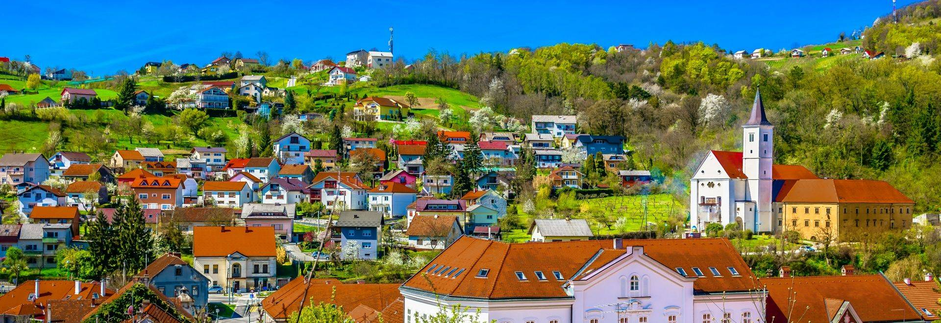 Aerial view at picturesque town Krapina cityscape in Croatia, Zagorje Region scenery.