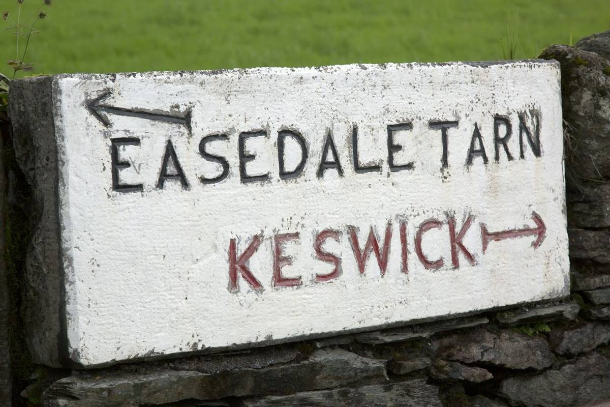 Easedale Tarn and Keswick Signpost, Lake District, England