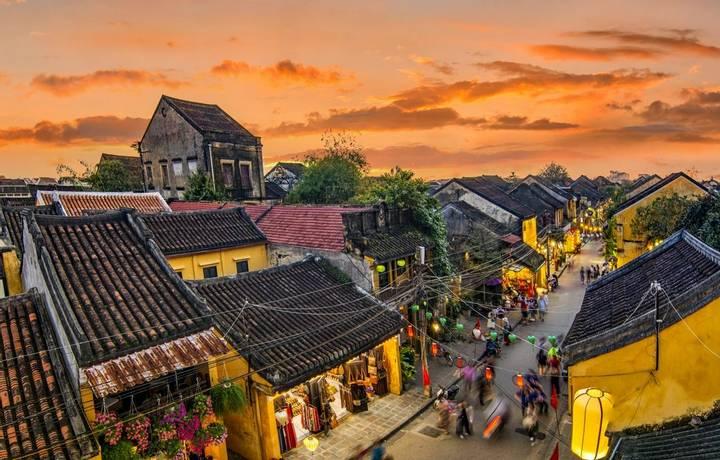 Hoi An, Vietnam: High view of Hoi An ancient town at sunset.