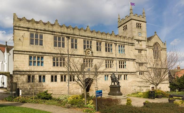 Shrewsbury United Kingdom - March 21 2018: Shrewsbury Library on Castle Gates once a school established in 1552 where Charle…
