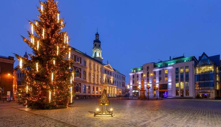 Christmas tree at the Town Hall Square in the night illumination. Riga. Latvia.