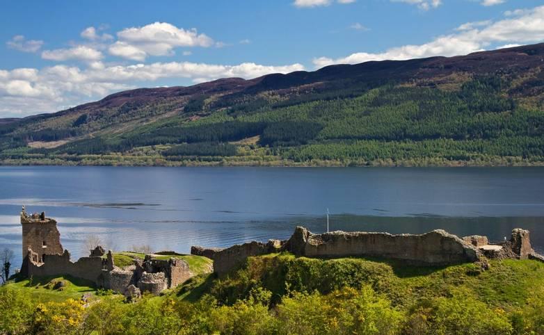 Ruins of Urquhart Castle overlooking Loch Ness