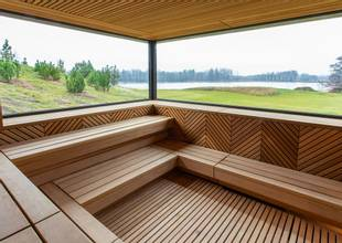 Sauna with views of outside