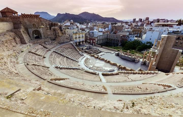 Roman Theatre in Cartagena. Cartagena, Murcia, Spain.