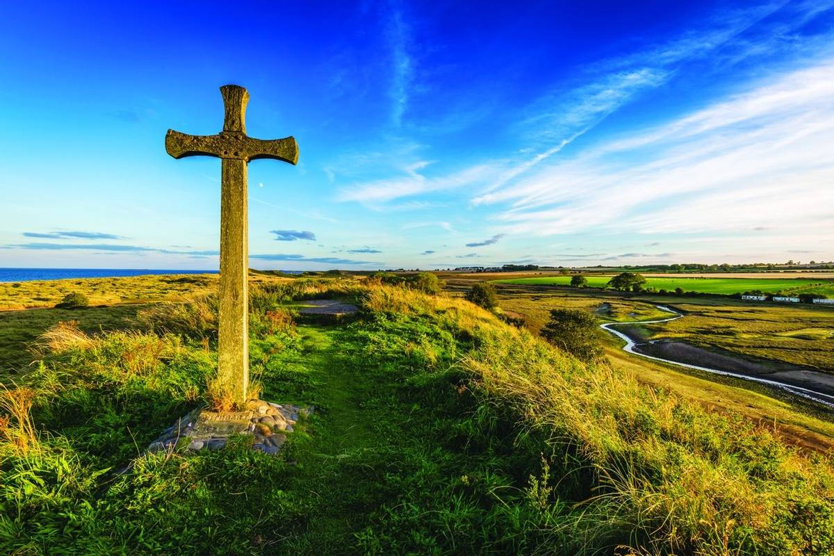 St Cuthbert's Cross on the Northumberland coast, England