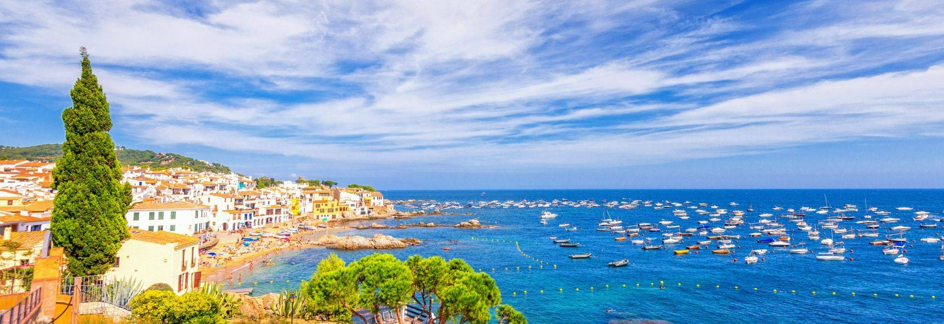 View over Calella de Palafrugell, a beautiful coastal town in the municipality of Palafrugell (province Girona) at the Costa…