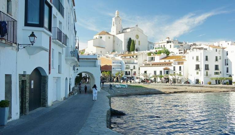 View of Cadaqués from the street. Cadaqués is a town in the Alt Empordà comarca, in the province of Girona, Catalonia, Sp…