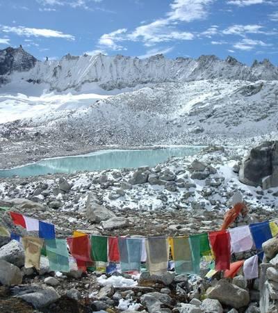 Prayer flags on Gophu La at 5,240m