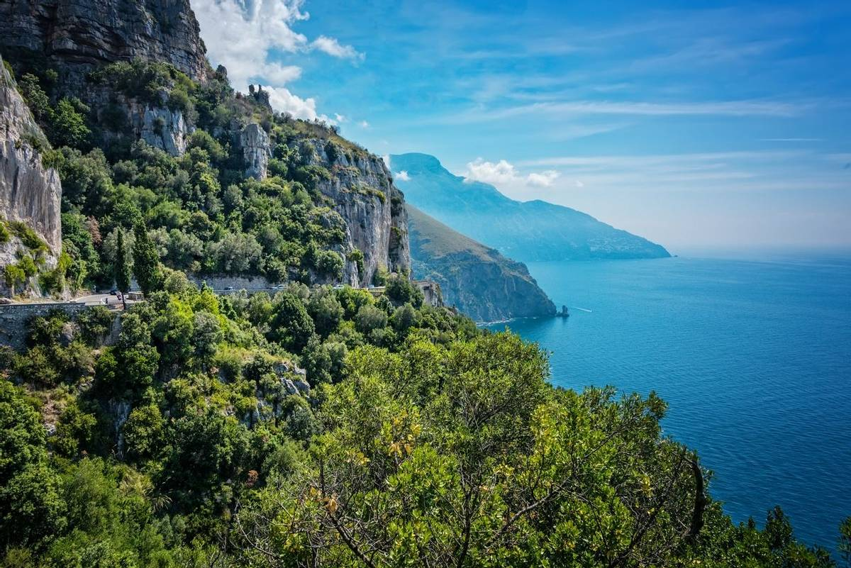 Scenic cliffs along the Lattari Mountains of the Amalfi coastline in sourhern Italy.