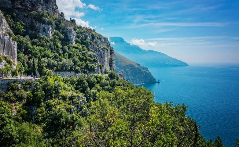 Scenic cliffs along the Lattari Mountains of the Amalfi coastline in sourhern Italy.