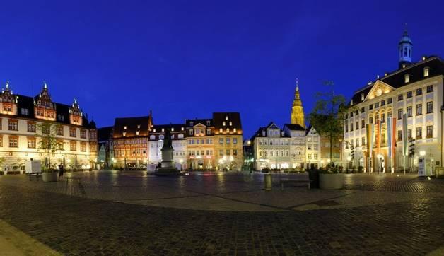 Stadthaus und Rathaus, Panorama Marktplatz, Coburg, Oberfranken, Franken, Bayern, Deutschland