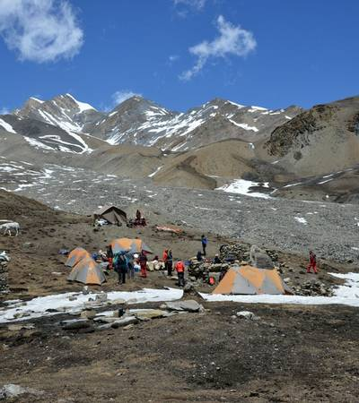 Camp at Pokharkang BC (5,030m)