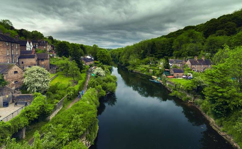 Scenic View of Ironbridge, Historic Village on the River Severn in Shropshire UK