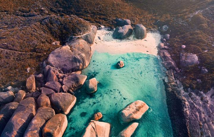 Aerial view of Elephant cove, Denmark, Albany Western Australia.
