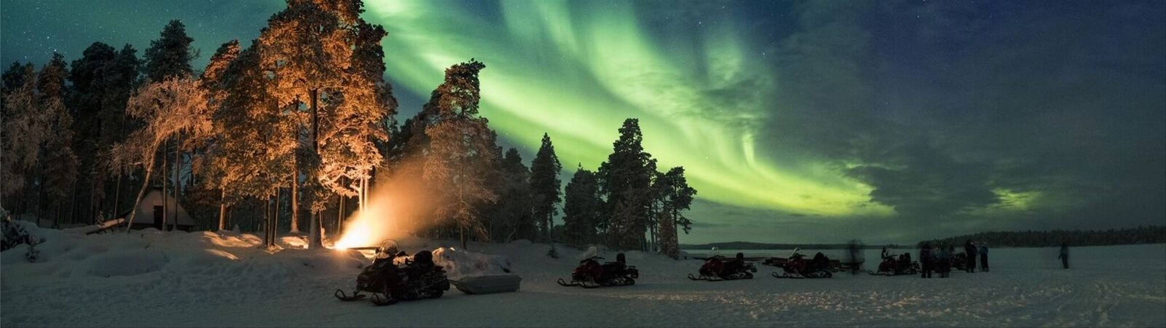 Northern Lights And Snowmobiles, Nellim