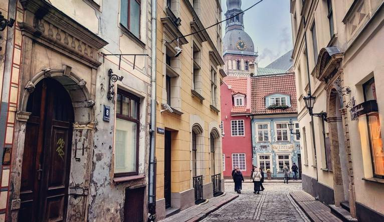 A cobbled street on old town Riga, capital of Latvia