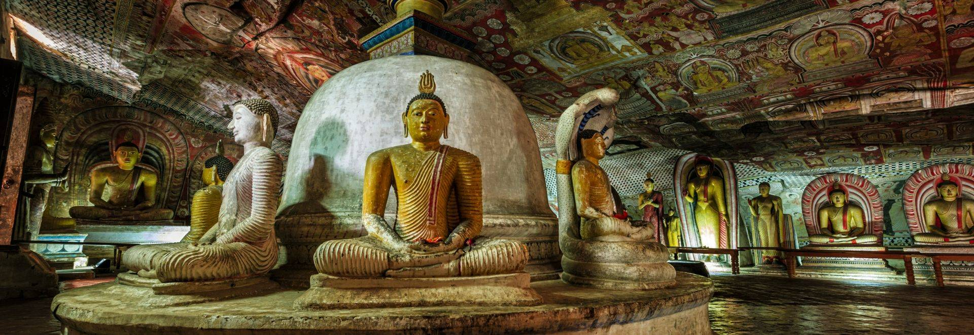 Buddha statue inside Dambulla cave temple, Sri Lanka. Dambulla cave temple also known as the Golden Temple of Dambulla is a …
