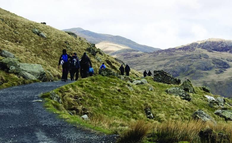 Winding path to Mount Snowdon, wales, United Kingdom