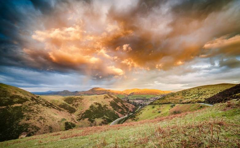 Dramatic Sunset Clouds Over Carding Mill Valley, Shropshire Hills UK